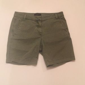 J. Crew Olive Flat Front Bermuda Shorts Size 4